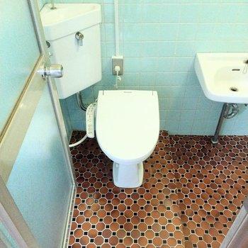 トイレはウォシュレット付き◎床のタイルがレトロかわいい!横に手洗い場も。