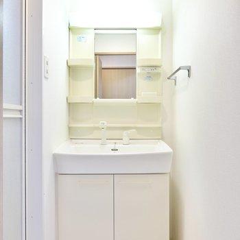 クローゼットの対面側のドアの先は脱衣所。(※写真は4階の反転間取り角部屋のものです)