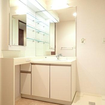 洗面台は左側にも鏡が!いろんな角度から身支度しやすそう(※写真は7階の同間取り別部屋のものです)