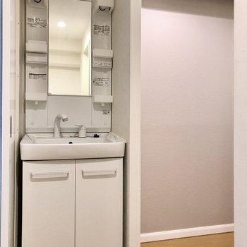 洗面台も綺麗なものがありました◯壁で隠れているのが嬉しいですね(※写真は清掃前のものです)