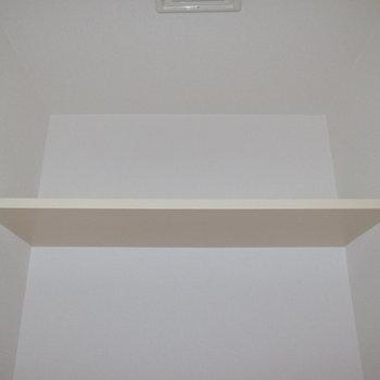 天井近くに収納棚がありました。 ※フラッシュを使用しています。