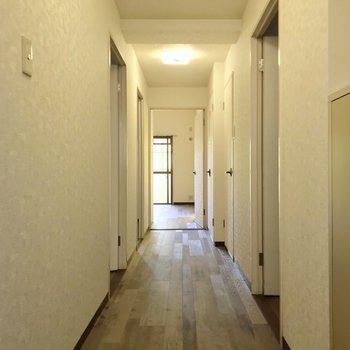 玄関から木目のきれいなフローリングが広がります。