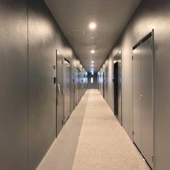 共用廊下は室内で、きれいに清掃されています。