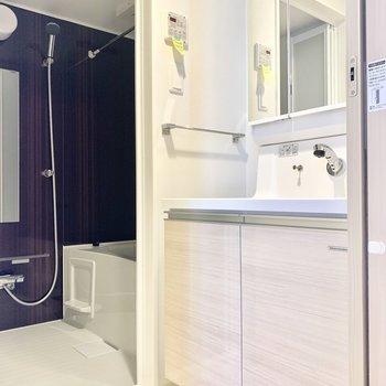 ゆったり脱衣所に、大きな洗面台。身支度もしやすいですね♪(※写真は3階の同間取り別部屋のものです)