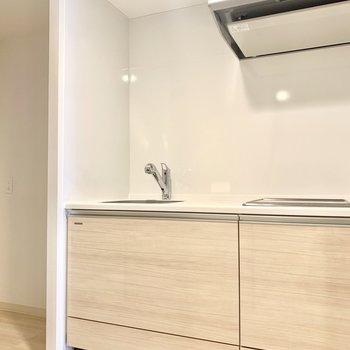 左横に冷蔵庫スペースあります。(※写真は3階の同間取り別部屋のものです)