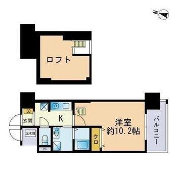 1人暮らしにぴったり1Kのお部屋です。