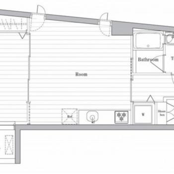 お部屋をスライド式の扉で仕切ることもできる広々1DKタイプ