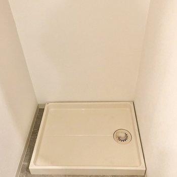 洗濯機置き場の上に収納もありましたよ。