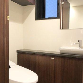 トイレには手洗い場と鏡が付いていて、来客時などに嬉しいですね。※写真は6階の同間取り別部屋のものです