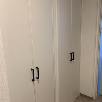 玄関スペースに収納棚が2つ。