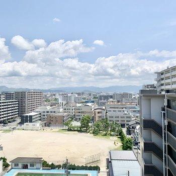 さすがは11階の眺め。青空がきもちいい〜
