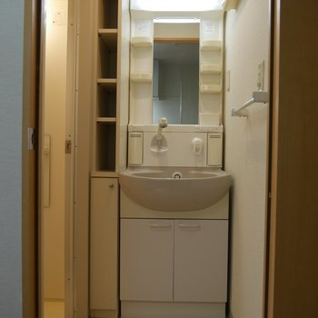 独立洗面台と、脱衣所です。収納も豊富です。※写真は2階の同間取り別部屋のものです