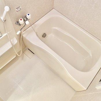 洗い場もゆったり。追い炊き機能付きなので遅い時間の入浴でもぽかぽか。