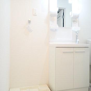 洗面台と洗濯機はおとなり同士です。