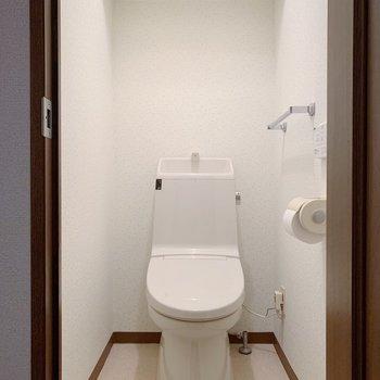 トイレはリビングをでてすぐ左に。上には棚も付いていました。