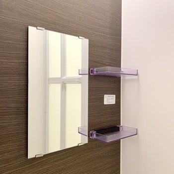 鏡の脇にはシャンプーやボディーソープが置けそうですね。