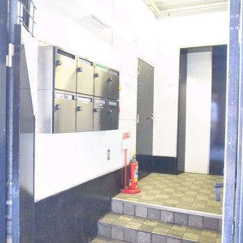【LDK】エントランスはコンパクトで、階段を上がるとエレベーターです。