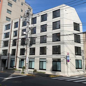 道路沿い、コンクリートのマンションです。