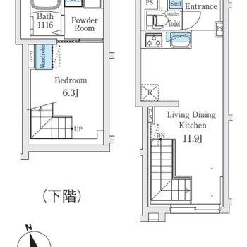 上の階がリビング、下の階が洋室になっています。