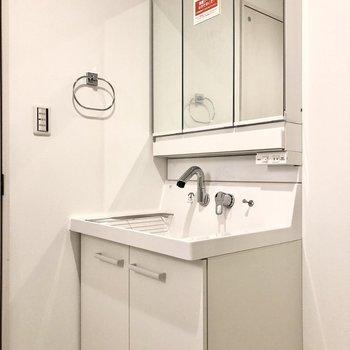 鑑面積広めで機能性も高そうな洗面台です。