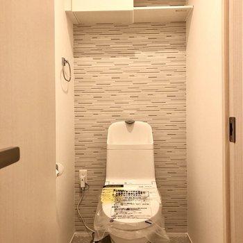 トイレは棚が付いていて紙類のストックをたくさん入れておけそう。