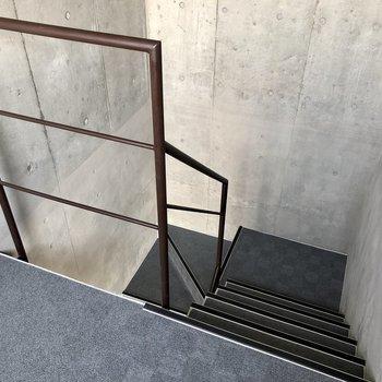 階段の広さは1人分+αくらいです。