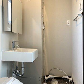 洗面台に洗濯機置場もあって、充実の設備。
