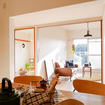 洋室とつなげて開放的に利用するのも良いですね。※写真は3階の同間取り別部屋のものです