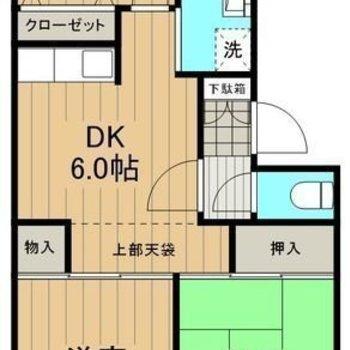 DKを中心に3つの個室へアクセスできるお部屋。