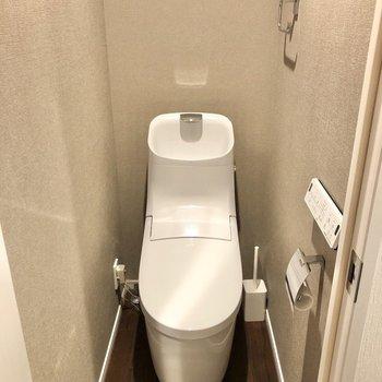 トイレには落ち着いたグレーのクロスが広がっていました。