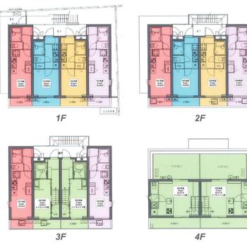 全体像はこちら。1〜2階は居室、3階から共有スペースです。
