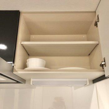 上の収納には食器等を入れて。