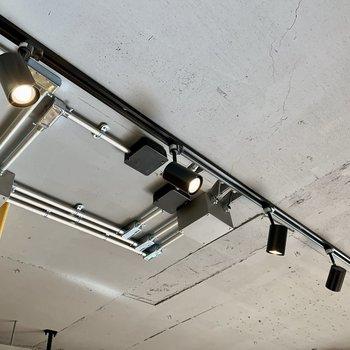 ブラックのスポットライト。天井はコンクリート調です。