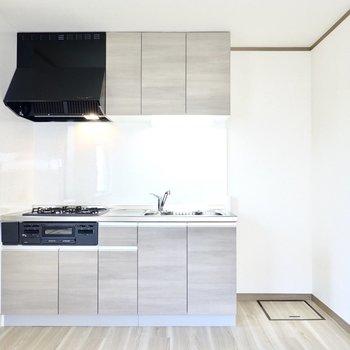 比較的新しい綺麗なシステムキッチン。右手の冷蔵庫置き場も広めです。