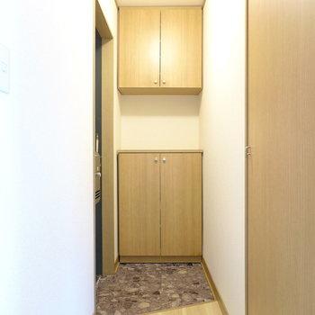 玄関のタタキの奥に靴箱。右に見えるドアは収納。