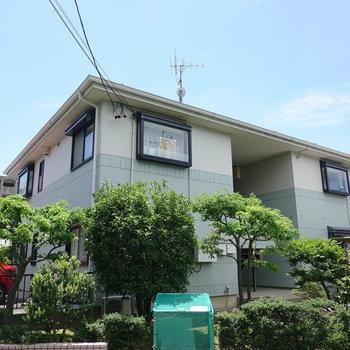 静かな住宅街の中にある、緑に囲まれた2階建てマンションの1階。