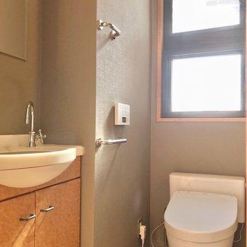 トイレには手洗い付き。蓋は自動で開きます。