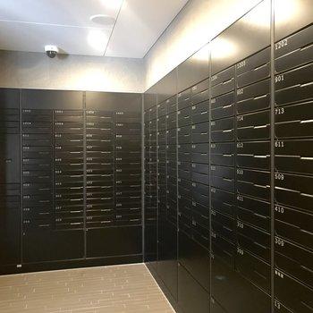 郵便受けや宅配ボックスは1階にまとまっています。