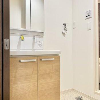 鏡裏に収納のできる独立洗面台です。