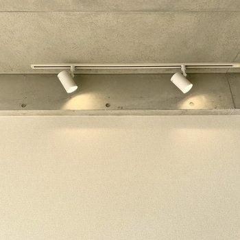 反対側にはライティングレールでスポットライト。(※写真は3階の反転間取り別部屋のものです)