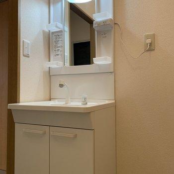 独立洗面台はポケットも多く、小物収納に便利。