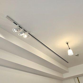 お部屋を照らすのは、ライティングレールとポッと可愛らしいライト。