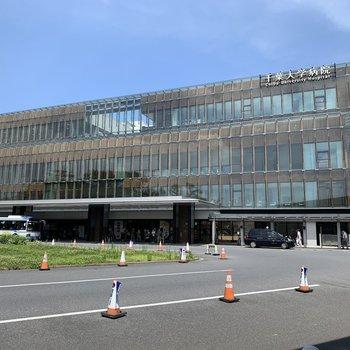 すぐ近くに大学病院がありました。中にはカフェやレストランが入ってますよ。