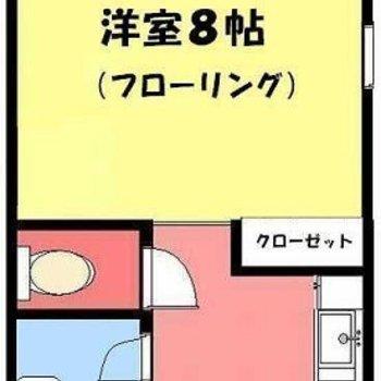 シンプルな1Kタイプ。※実際はキッチンとサニタリーが反転してます