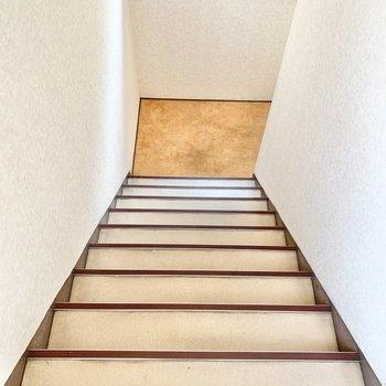 2階までは階段を登ります。幅は広めですよ。