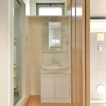洗面台は丁度良いサイズ感。小窓がうれしいね。