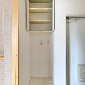 向かい側に洗濯機置き場。柔軟剤や洗剤を並べようかな。
