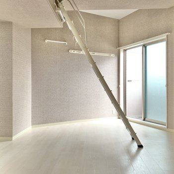 今回はこちら側で。梯子を掛けると、空間が2つに分けられているみたいに。