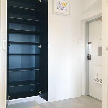 開放感のある玄関とたっぷりサイズの靴箱。