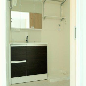 脱衣所には3面鏡の広めの洗面台。その横に洗濯機置場。
